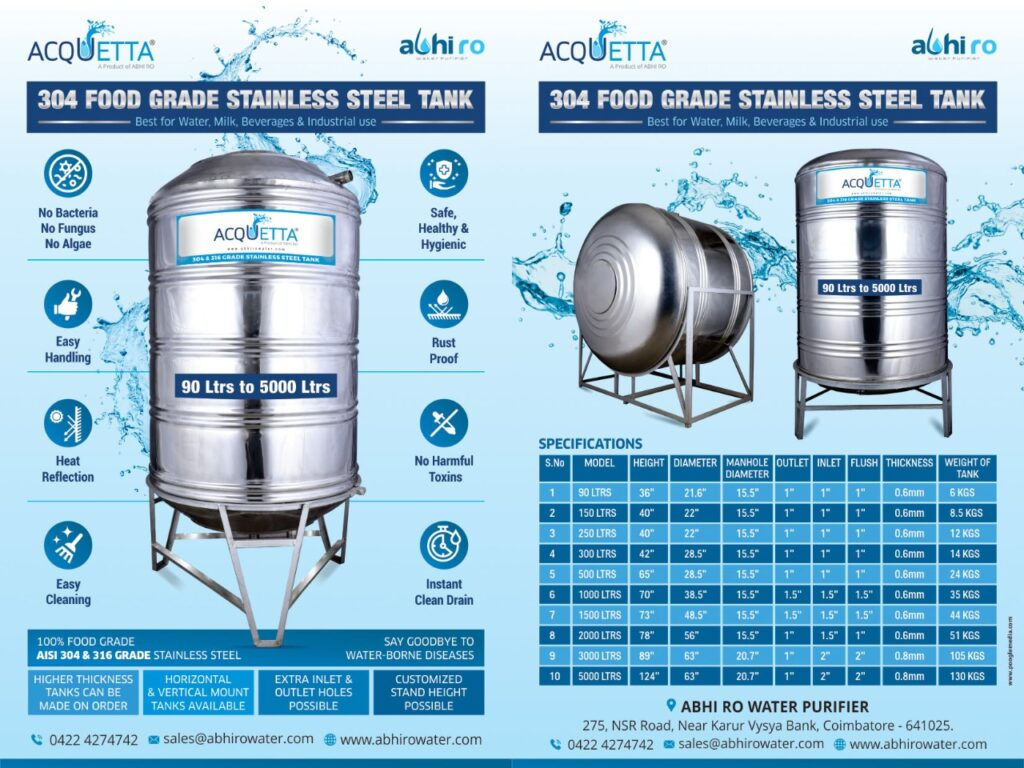 SS Water Tank Manufacturer In Coimbatore